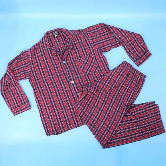 Vintage Red Plaid Flannel Pajama Set